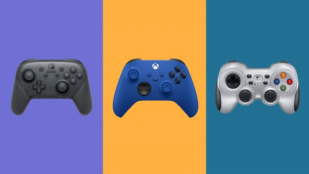 Nintendo Switch Pro Controller, Xbox Wireless Controller and Logitech Gamepad F710 on a multicolored background