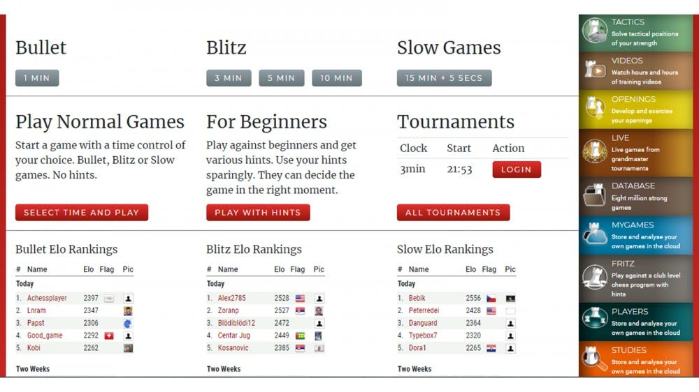 Playchess home page with bullet, blitz and other tournament results
