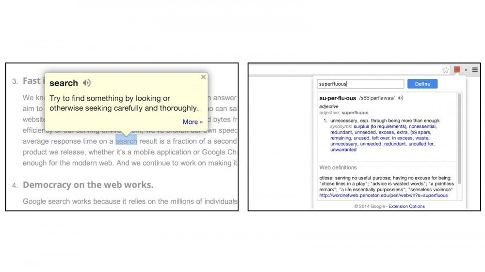 Google Dictionary displays selected words with pop-up definition bubble and full definition pages