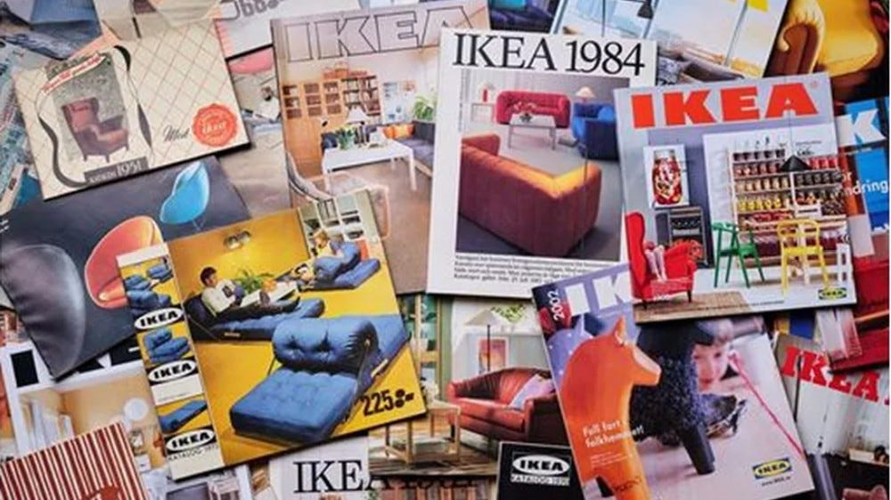 Collage of vintage IKEA catalogs