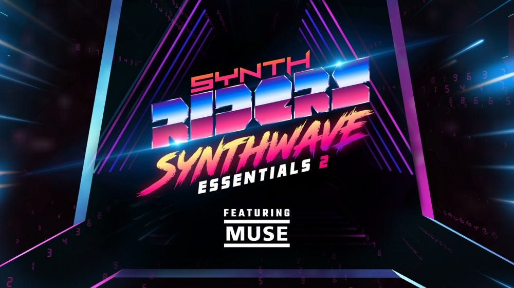 The Synth Riders logo against a dark backgrop