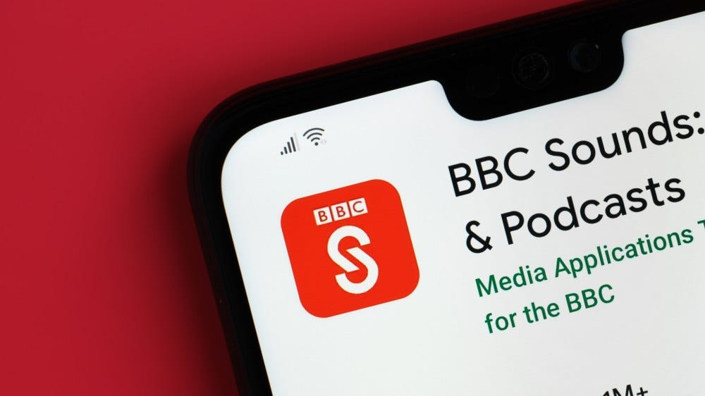 BBC Sounds app seen on top part of mobile phone screen