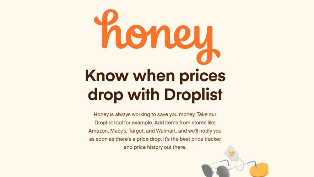 A screenshot of the Honey website.