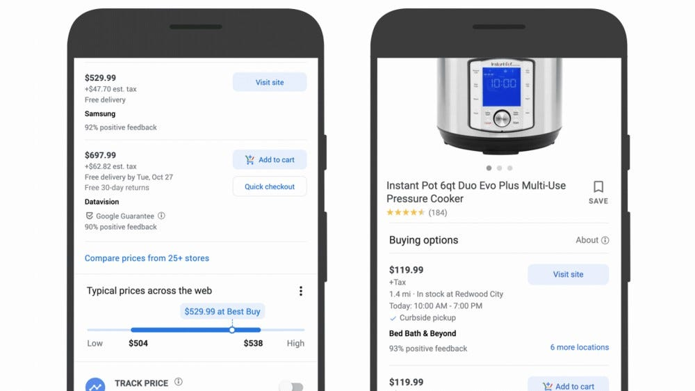 Screenshots that show Google Shopping price tracking in action.