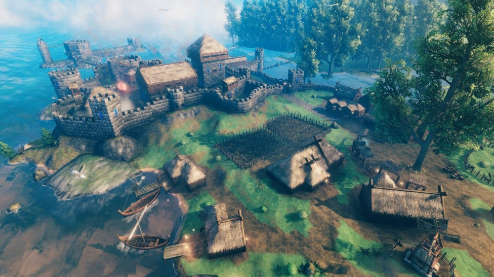 A sprawling players' village in 'Valheim'