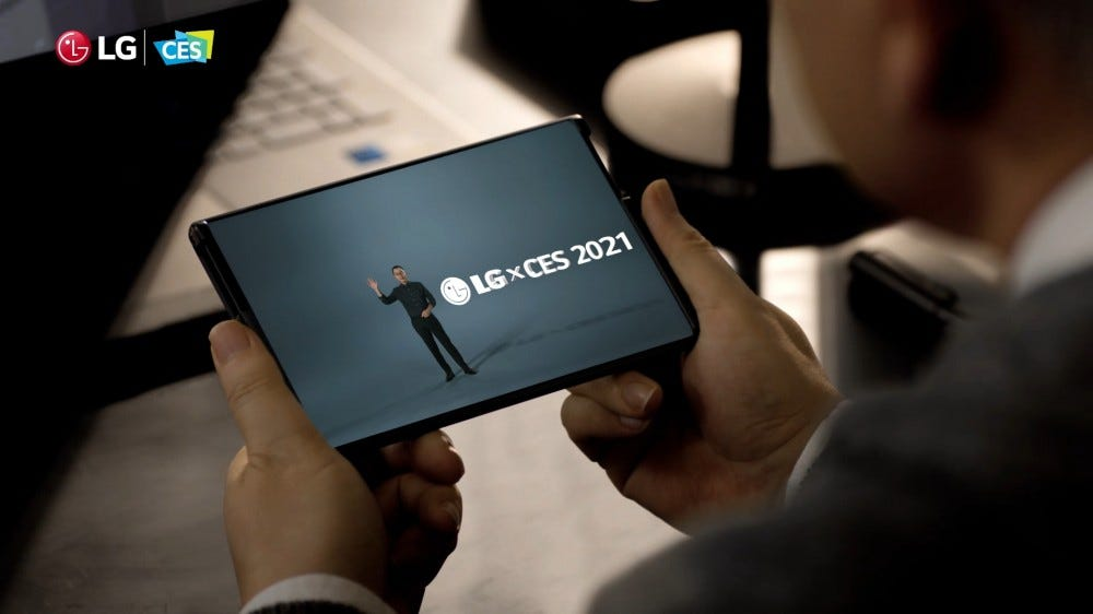 An LG phone rolled out to tablet format.