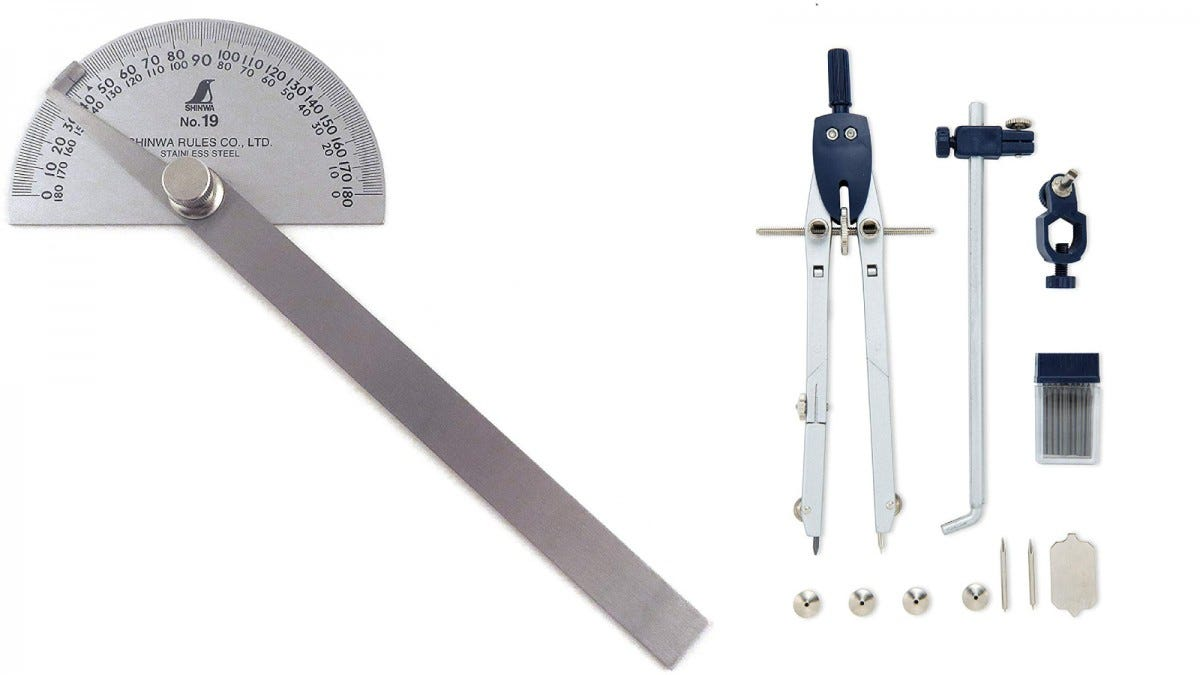 Mr. Pen- Professional Compass with Lock and Shinwa Japanese #19 Stainless Steel Protractor