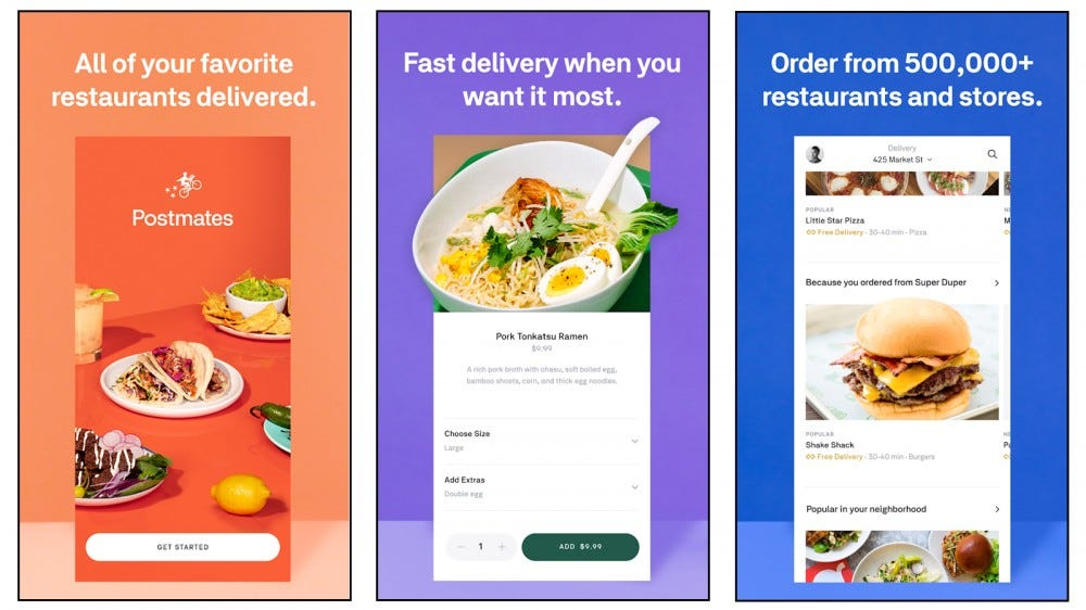 Postmates app for ordering delivery of food and supplies
