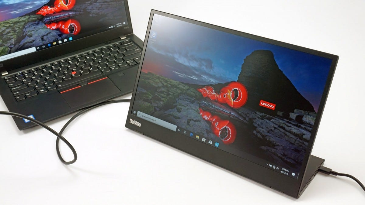 The ThinkVision M14 connected to a laptop.