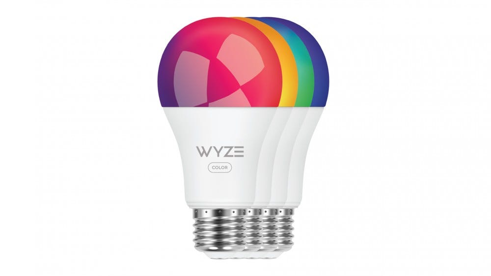 Four Wyze lamp colors glow in red, yellow, green and blue.