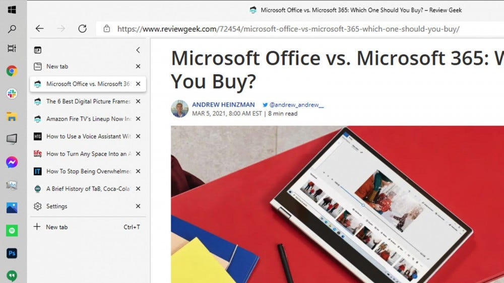 A screenshot showing the Microsoft Edge vertical tabs in action.