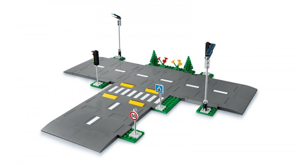 A closeup of a LEGO modular road system