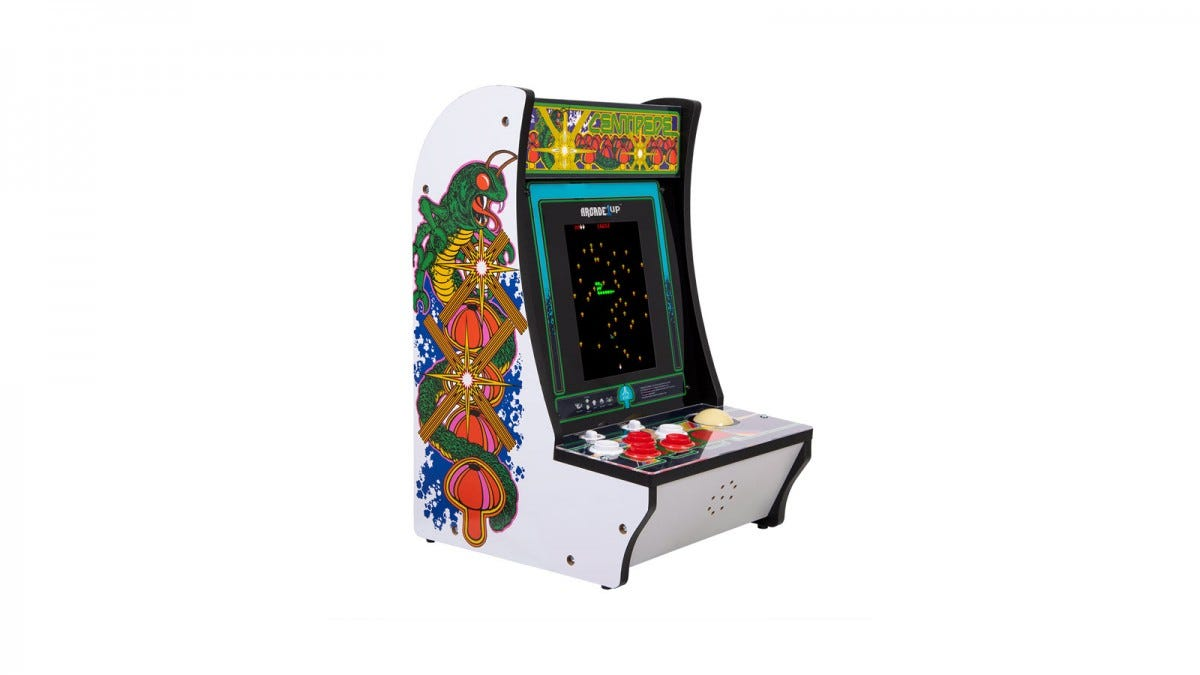 An Arcade1Up centipede machine with rollerball control and 8-inch screen.