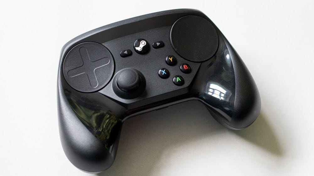 A photo of the Steam Link controller.