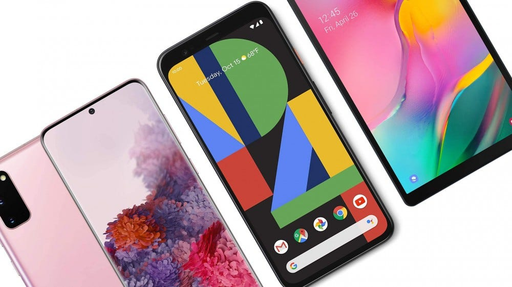 The Samsung Galaxy S20 5G, the Google Pixel 4, and the Samsung Galaxy Tab A tablet.