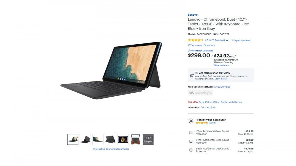 A screenshot of Lenovo IdeaPad Duet from Best Buy