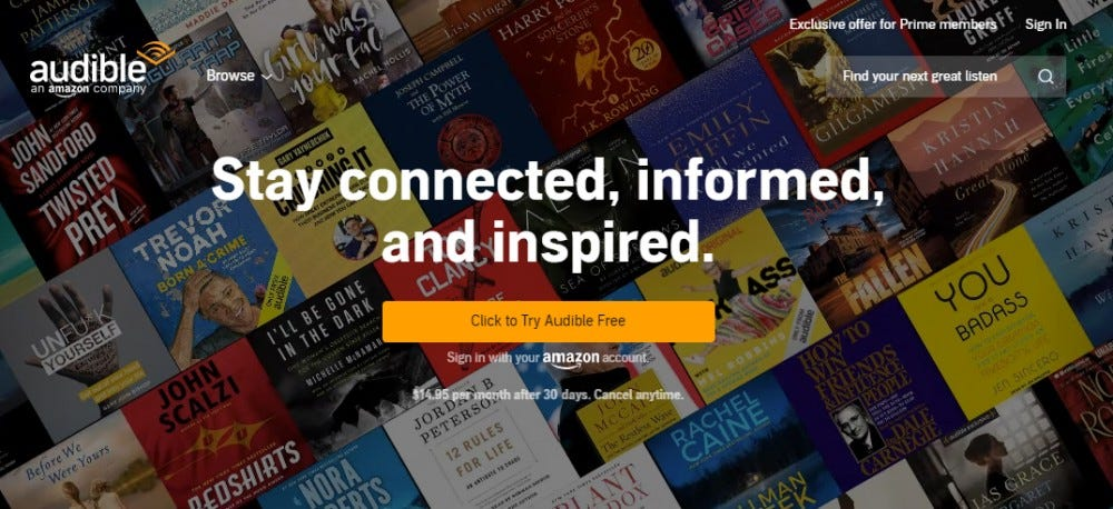 Audible subscription to the audiobook magazine for Father's Day 2020