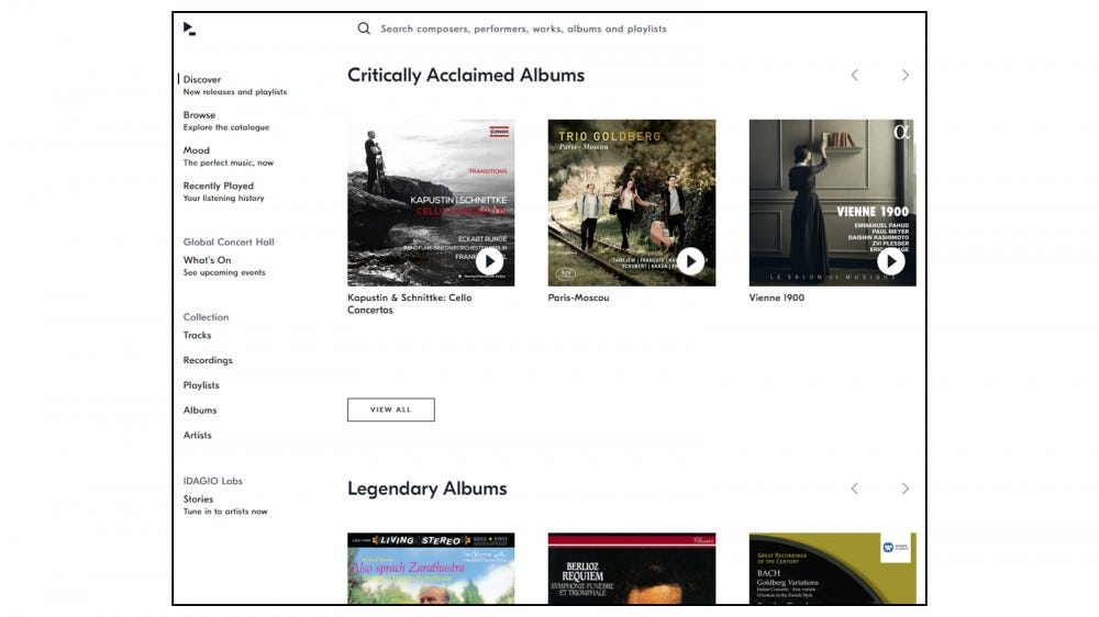 Homepage of Idagio's classical music streaming service