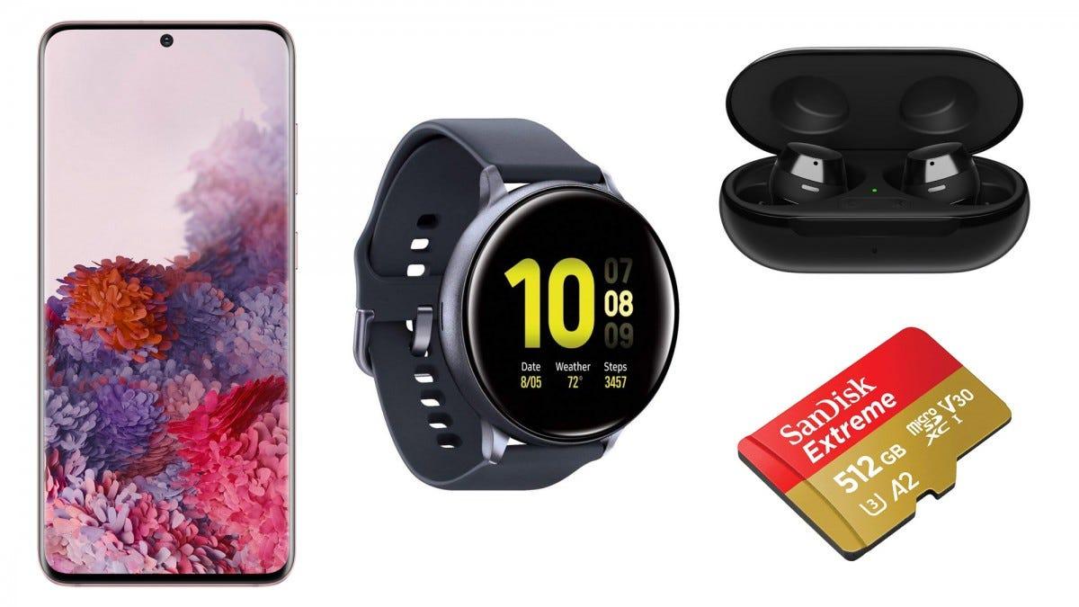 Galaxy S20, Galaxy Watch Active 2, Galaxy Buds+, SanDisk MicroSD Card