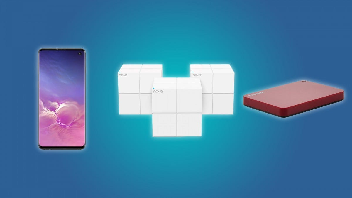 The Galaxy S10, the Tenda Nova Mesh Wi-Fi System, the Toshiba 1TB External HD