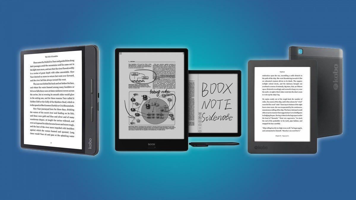 The Kobo Forma, BOOX Note, and Kobo Aura H20