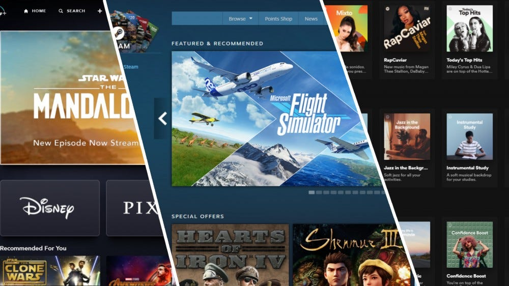 Screenshots of Disney  Home Page, Steam Storefront, and Spotify Home Page.