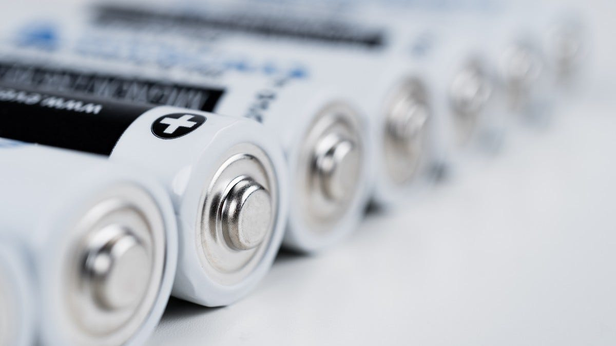A set of rechargable AA batteries.