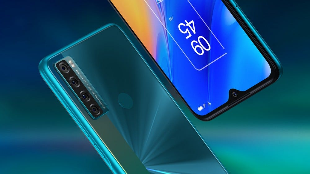 TCL 20 SE smartphone front and rear views on the diagonal