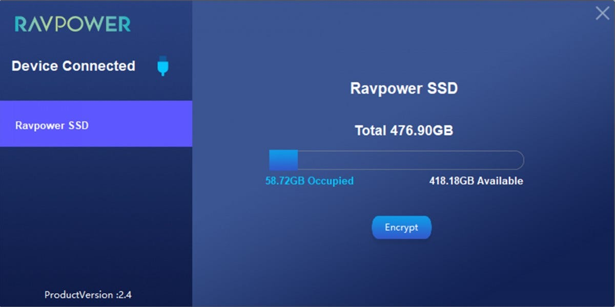 A screenshot of the RAVPower encryption software. It displays GBs available, along with the option to encrypt or decrypt the drive.