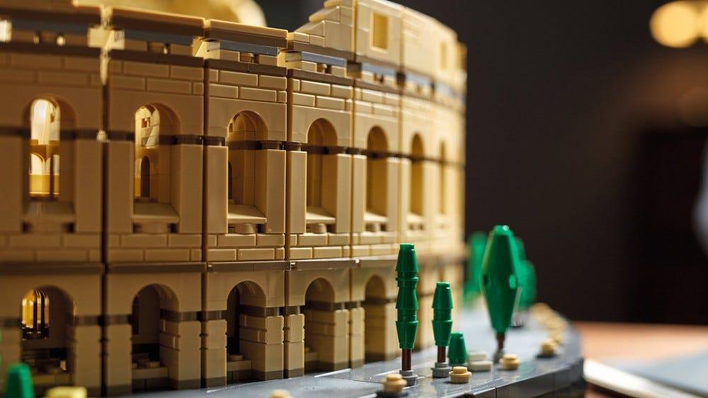 A closeup of the LEGO colosseum.