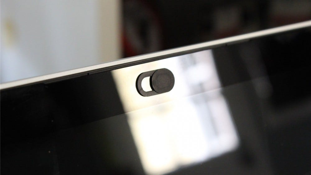 A small laptop webcam cover on the Google Pixelbook