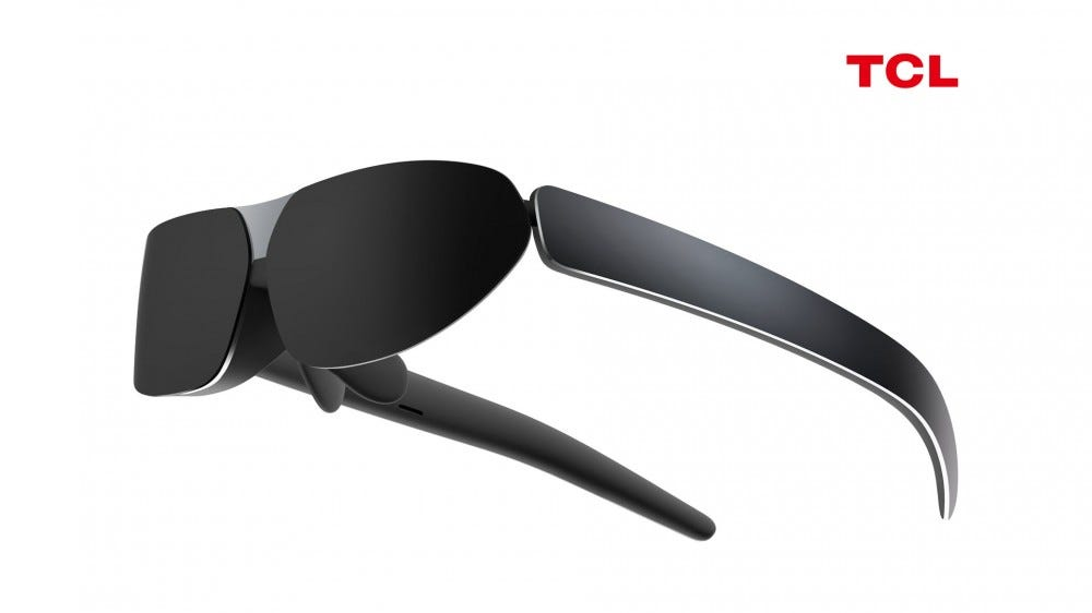 A wearable display that looks like glasses.