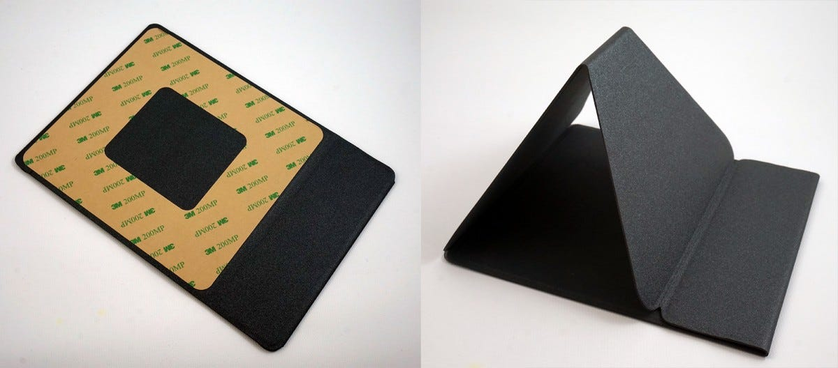 The stand is applied to the tablet with 3M adhesive, and stays closed or open with thing magnets.