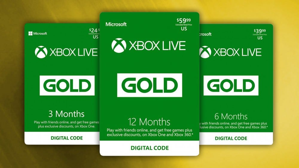 Xbox Live Gold digital codes