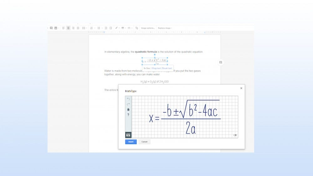 MathType add-on for typing, handwriting, and editing math equations and chemical formulas