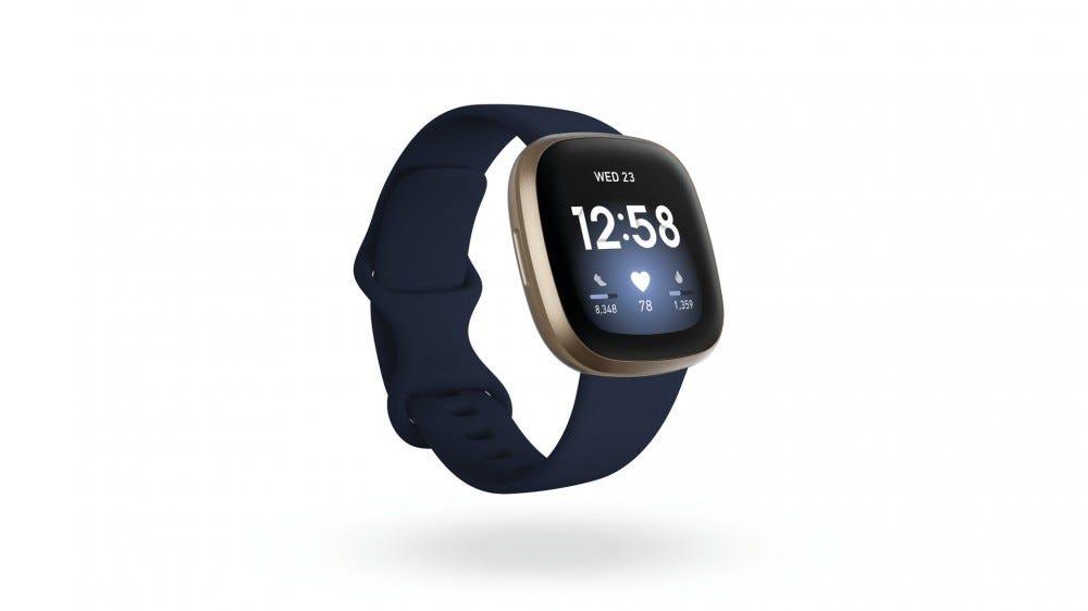 A Closeup of the Versa 3 Smartwatch in midnight.