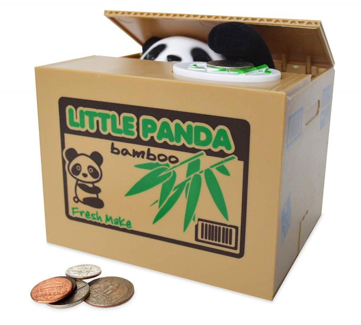 A piggy bank with a mechanical panda.