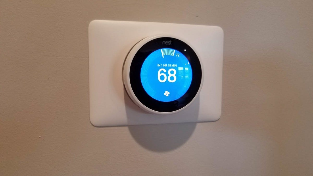 A Nest thermostat, cooling a home to 68 degrees.