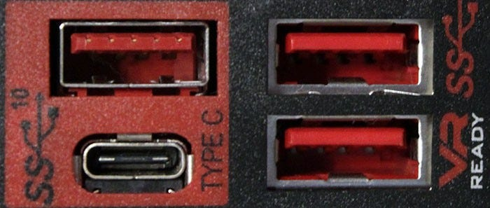 Three USB-A ports, and a single USB-C port.