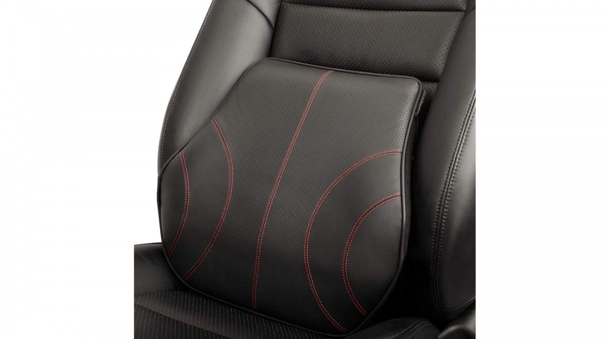 The Aukee leather lumbar cushion.