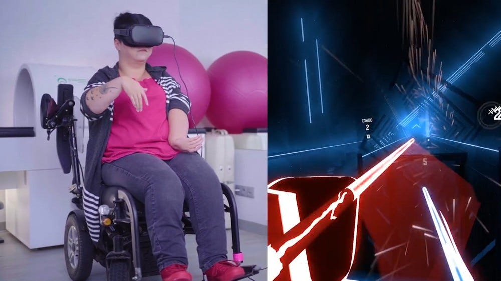 A gamer using WalkinVR and a Kinect to play Beatsaber.