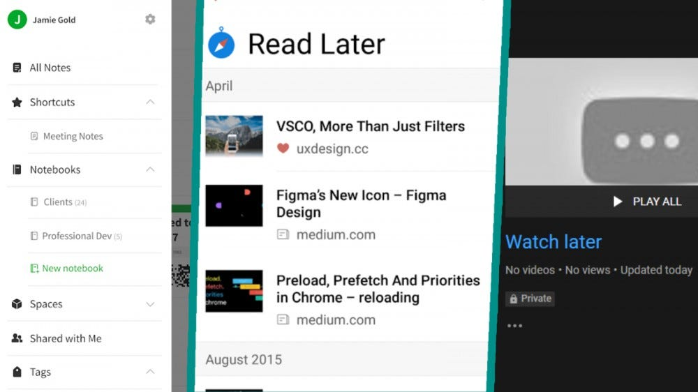 Screenshots of Evernote, Raindrop.io, and the YouTube Watch Later playlist in a collage.