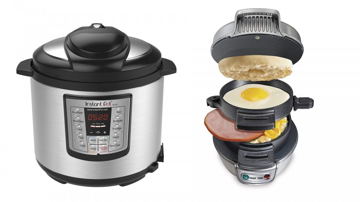 The Instant Pot and the Hamilton Beach breakfast sandwich maker.