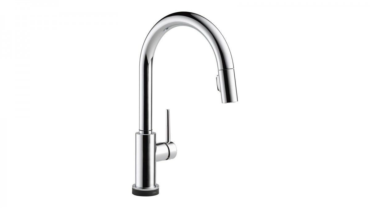 The Delta VoiceIQ faucet with pull-out spray nozzle.