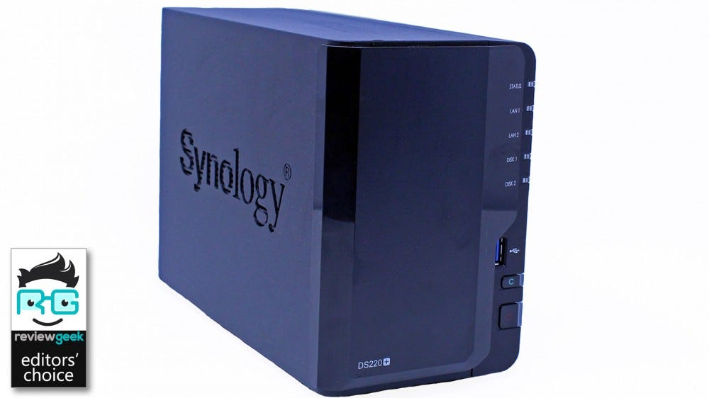 A DS220+ NAS from an angle, showing the Synology logo.