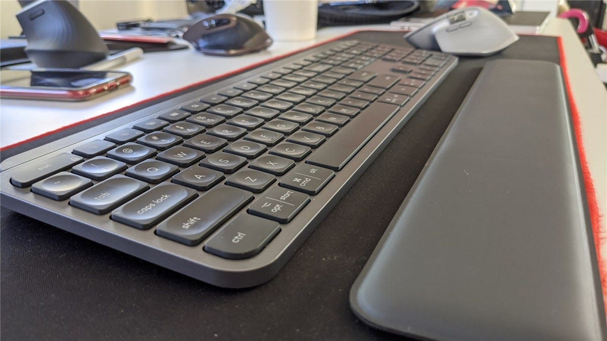 The MX Palm Rest goes below the keyboard