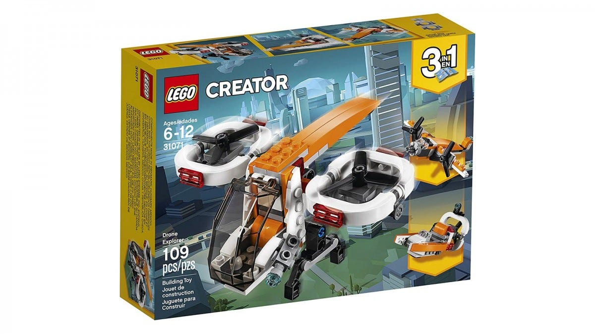 A LEGO box showing a set in drone mode, swamp boat, and propeller plane.