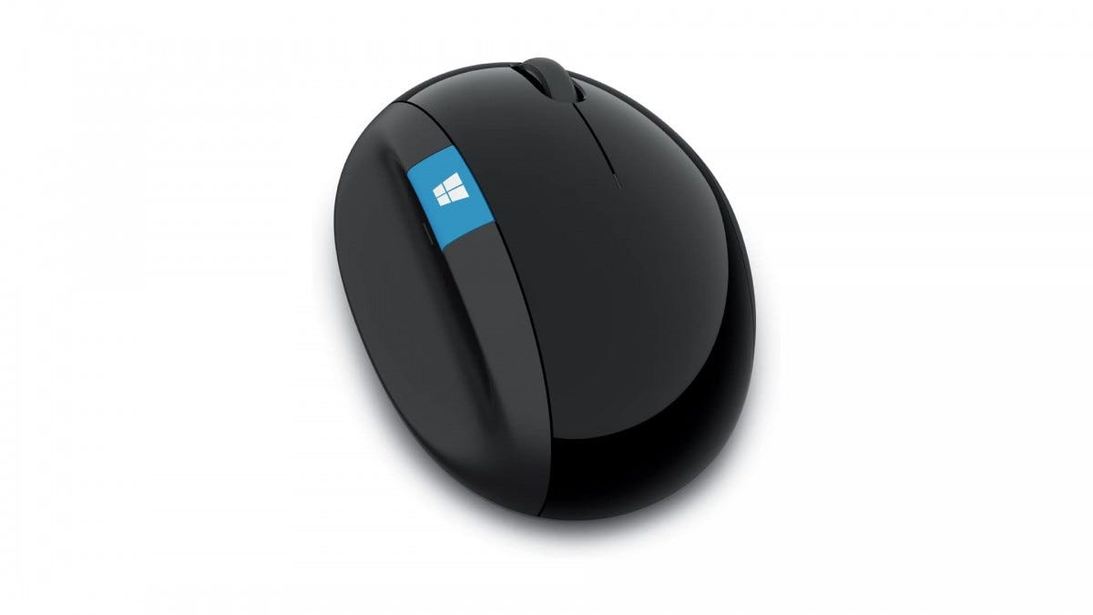 A photo of the Microsoft Sculpt mouse.
