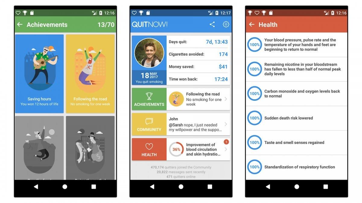 Three screenshots of the QuitNow!  app.