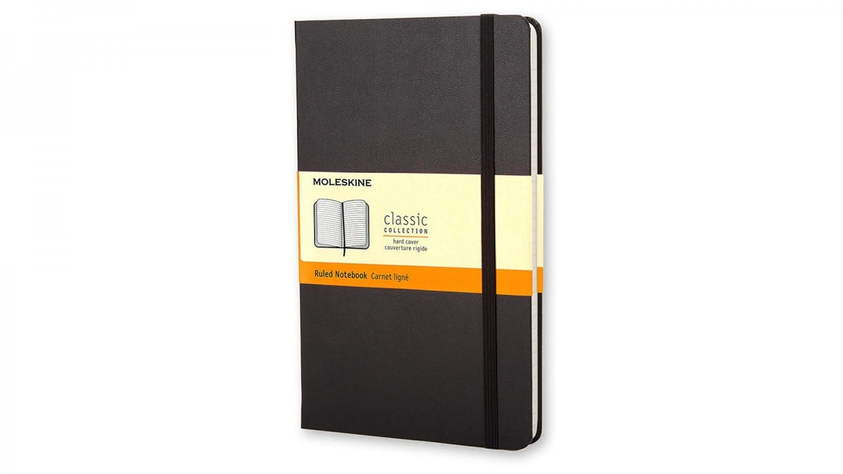 A closed Moleskin Classic Notebook.
